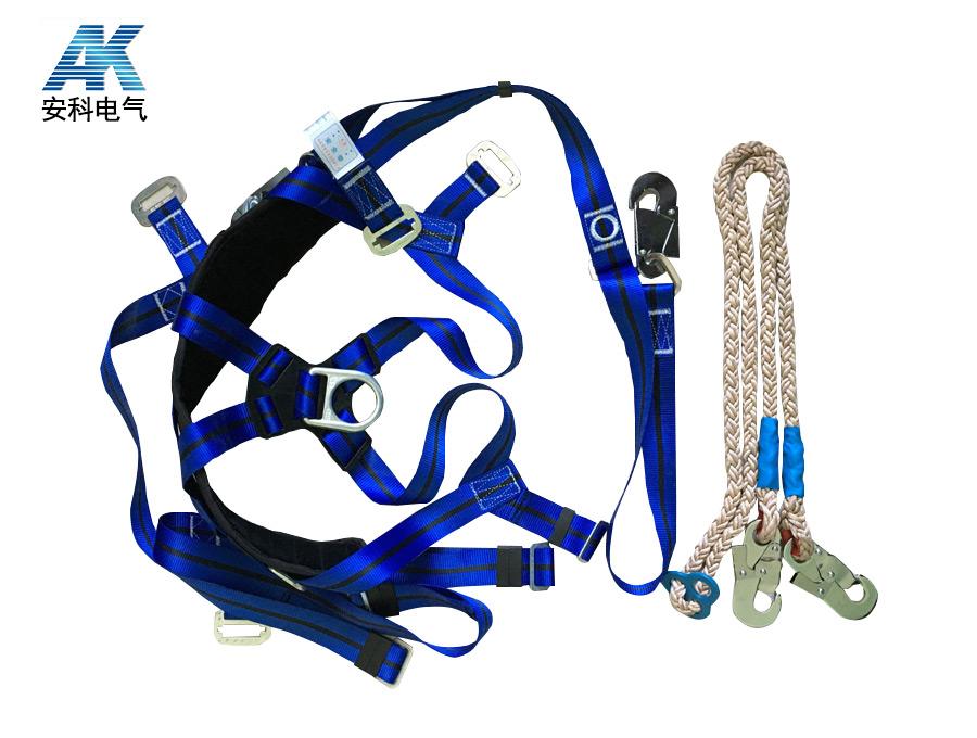 蓝色双背双保险安全带